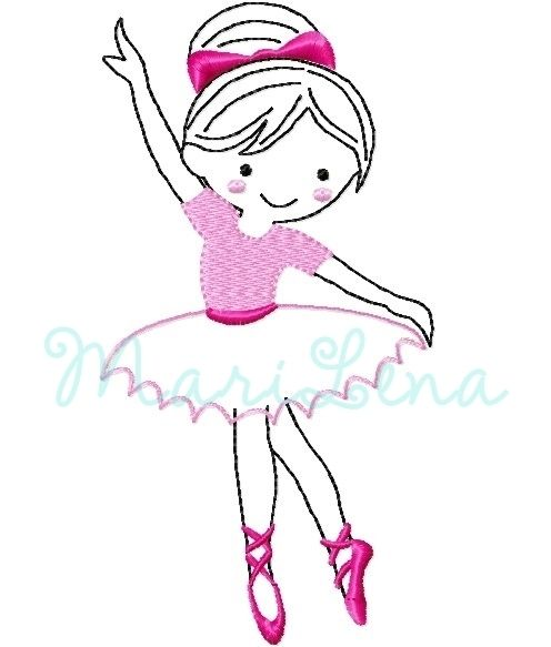 "stickdatei ""nina"" ballerina redwork 13x18  desenho de"