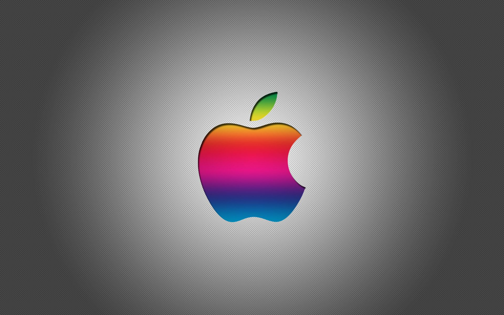 Colorful Apple Logo With Grey Background HD Wallpaper