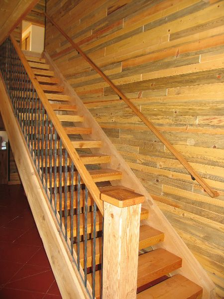 Pine Stair Case In Log Home