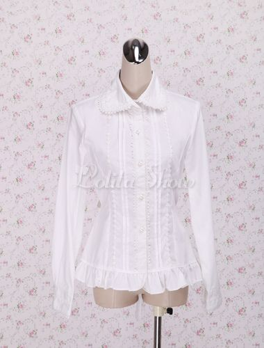 1ba95df6b83 Quality White Lace Long Sleeves Lolita Cotton Blouse - Lolitashow.com $33.99