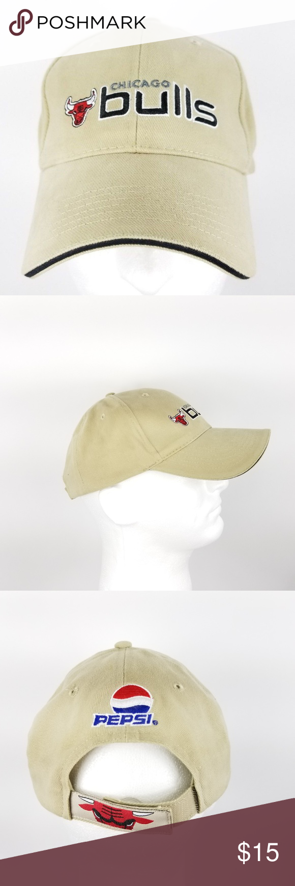 98b0eec5 Kick 10 Chicago Bulls Strapback Dad Hat Tan Black Kick 10 Chicago Bulls  Strapback Dad Hat Tan Black Red Pepsi Pro Gear Spellout Very Good Condition!