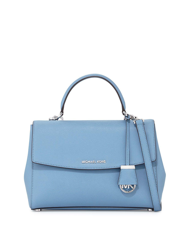 0d461ac8cbf4 MICHAEL Michael Kors Ava Medium Saffiano Leather Satchel Bag, Sky (Blue)