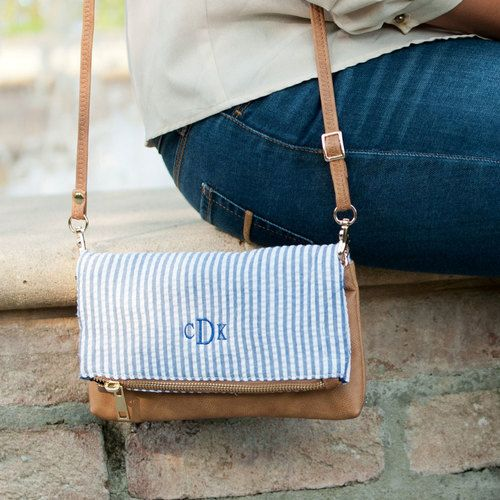 5c87f83d63f4a Monogrammed Navy Seersucker Crossbody Purse - The Pink Lily