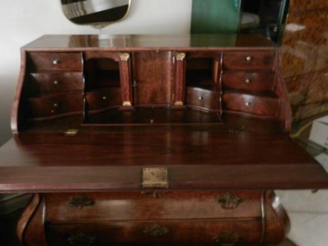 A Late 18th Century Dutch Drop Front Desk In Burl Walnut 1stdibs Com Vintage Desk Front Desk Antique Desk