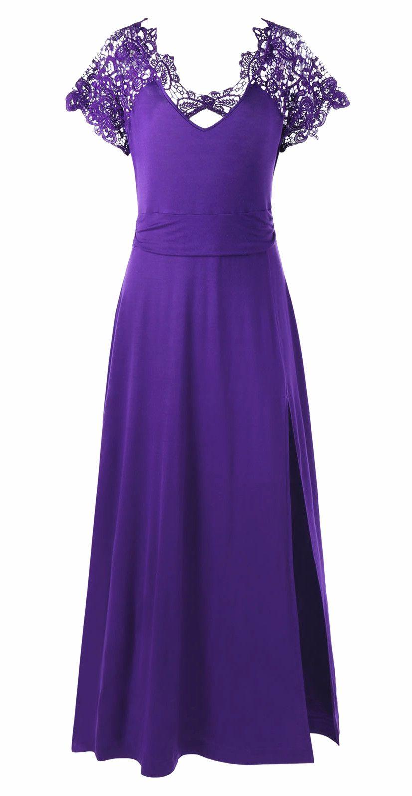 Plus Size Lace Yoke High Slit Maxi Dress   MAXI DRESSES   Pinterest ...