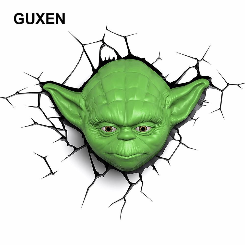 Guxen Star Wars Yoda 3d Deco Green Plastic Wall Creative Night