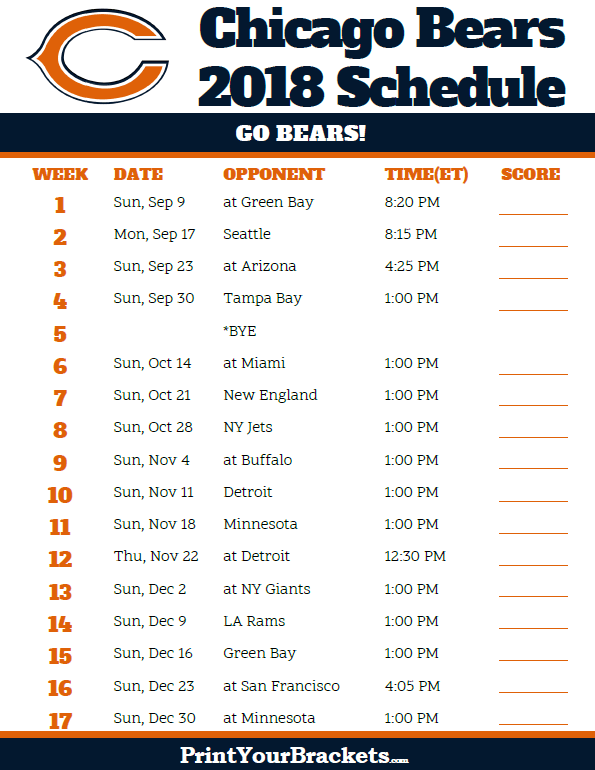photograph relating to Printable Nfl Schedules named Printable 2018 Chicago Bears Soccer Timetable Printable