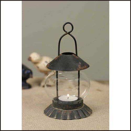 Distressed Black and Rust Colored Tart Pan Teal Light Lantern (set of 2)