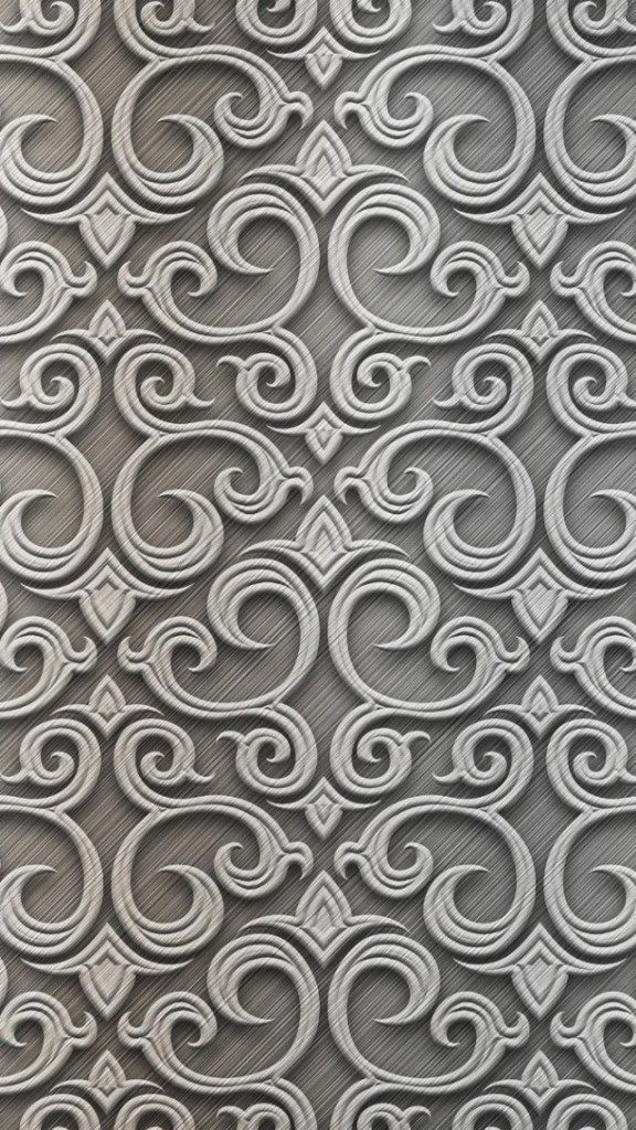 Neutral Grey ★ Baroque Silver Pattern iPhone 5 Wallpaper