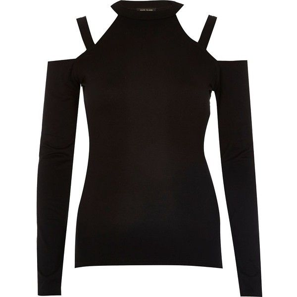 3ae52cfcb30602 River Island Black cold shoulder turtle neck top ( 40) ❤ liked on Polyvore  featuring
