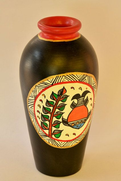 Ebony Hand Painted Flower Vase Blackhandpaintindiancraftethnic