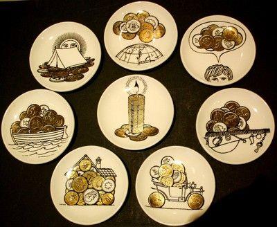 Piero Fornasetti Rare Vintage Set Of Eight Porcelain Small Plates World Money