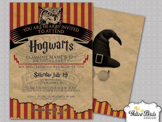Harry Potter Birthday Invite Harry Potter Themed Party Invitation