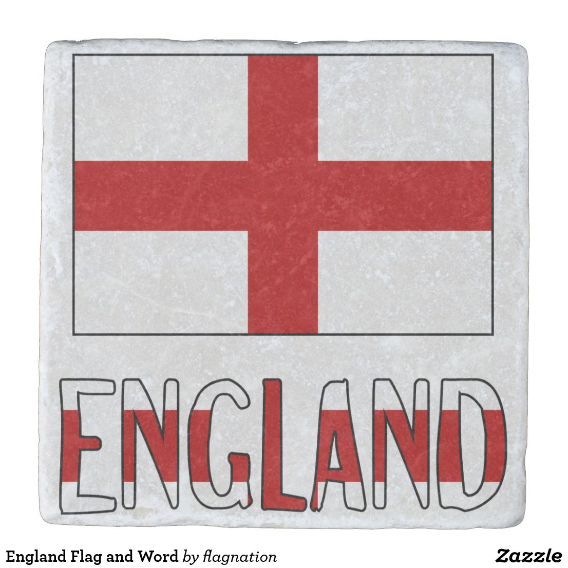England Flag and Word Stone Coaster   England from Auntie Shoe ...
