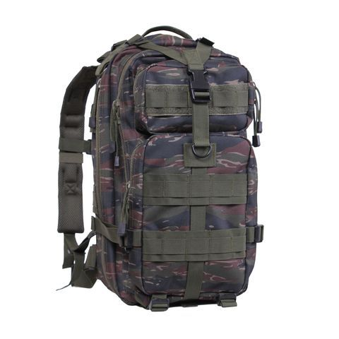 The Medium Transport Packs in tiger stripe camo are an incredible multi purpose gear bag and is ideal for paintball and airsoft. They are constructed of a durable 600 Denier Polyester material are polyurethane coated lined for water repellency. These backpacks also feature fully adjustable padded shoulder straps a padded back w/breathable mesh backing a top carry handle and is hydration bladder compatible. Ideal for military, law enforcement, outdoors and everyday lifestyle bug out