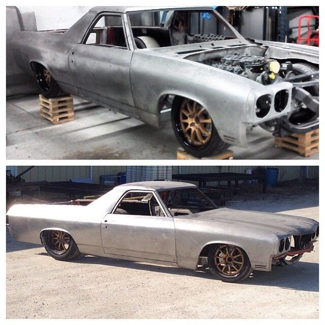 """lowfastfamous: """"Hot Wheels - Wow there is a whole lot of custom happening in this Chevrolet El Camino, loving the stance over these wheels a shortened length. Work & @bbtfab @pistolapete70..."""