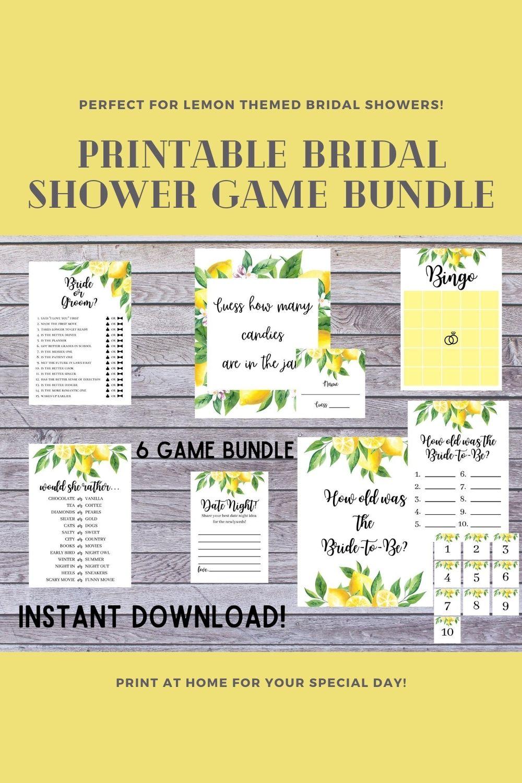 Cricut Lemon Bridal Shower Games Silhouette PDF PNG Hand Cut Printable Bridal Shower Game Bundle