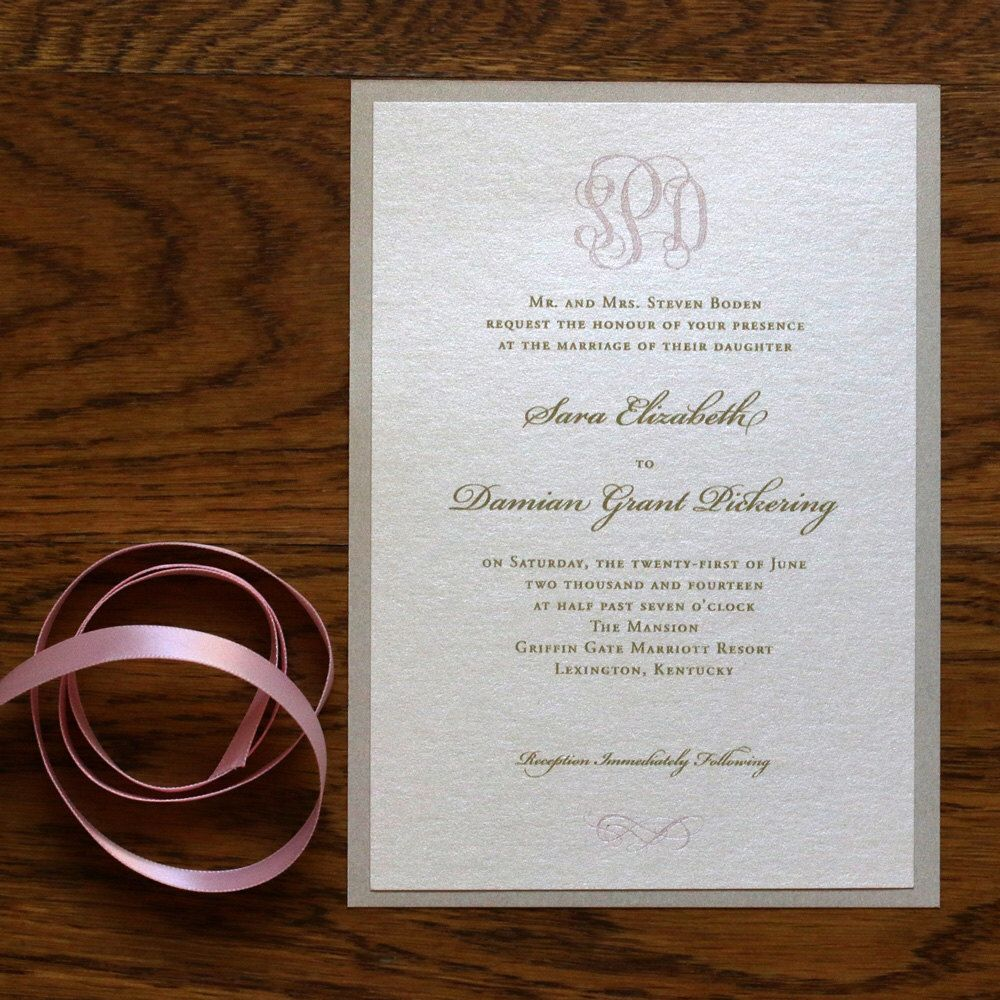 Engraved Monogram Invitation With Gold And Blush Calligraphy And