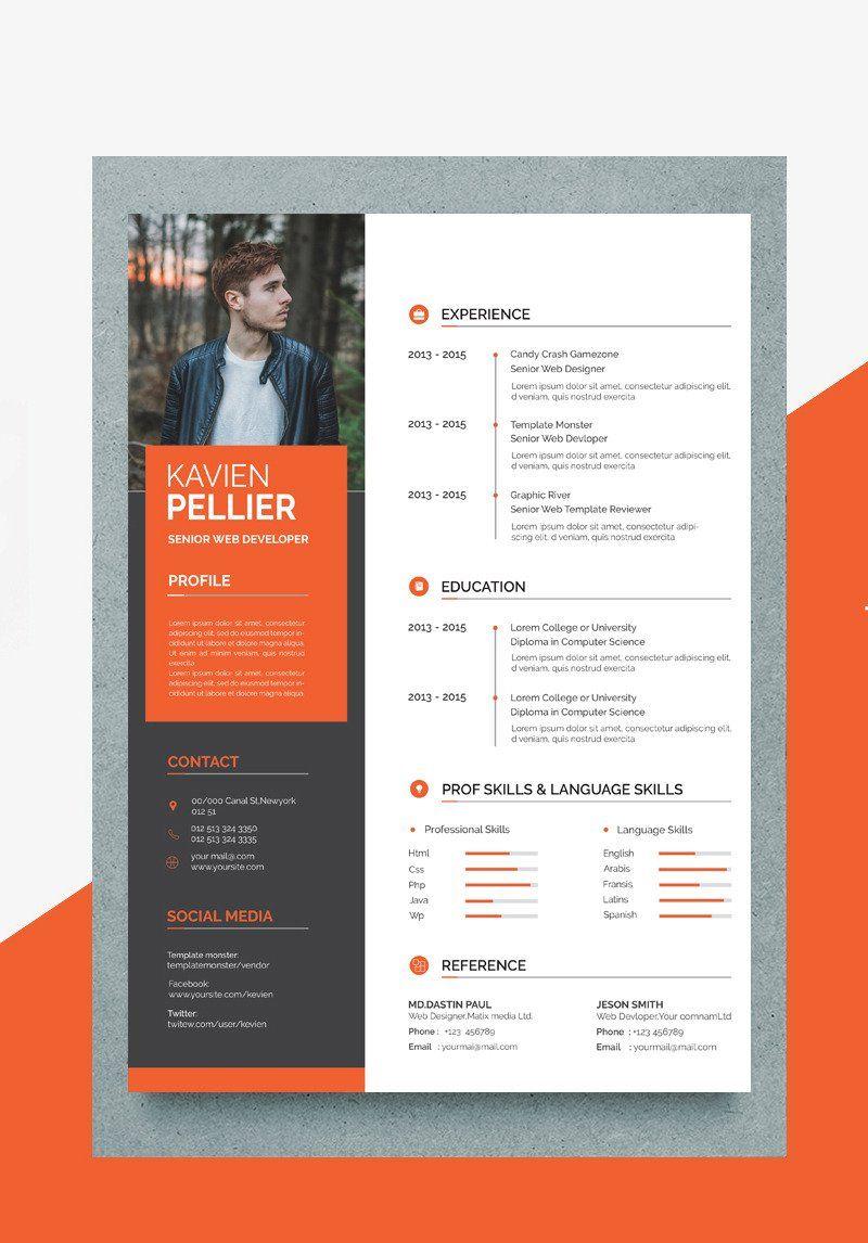 Kavin Creative Resume Template Resume Design Creative Resume Design Free Creative Cv Template