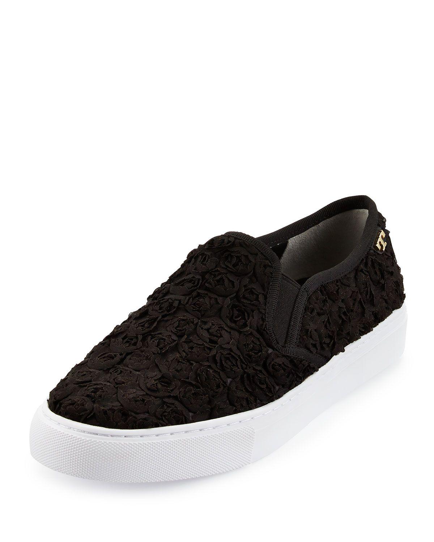 sale retailer 2a0db e471e Tory Burch Rosette Slip-On Skate Sneaker, Black, Women s, Size  39.5B 9.5B