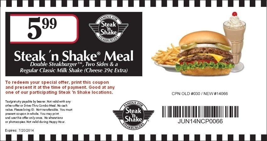 photograph about Steak N Shake Printable Coupons titled Steak N Shake Printable Discount coupons 2018 International Of Template