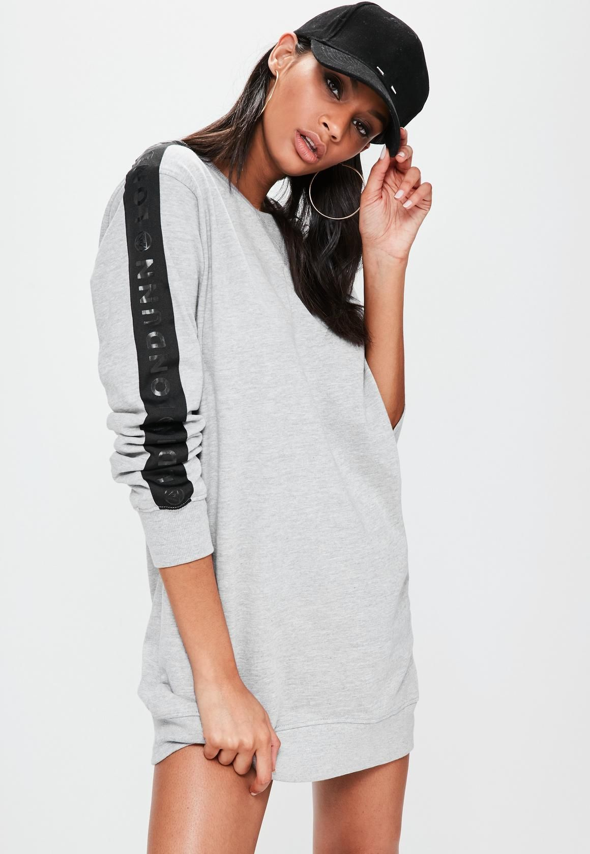 Londunn   Missguided Grey Oversized Logo Sleeve Jumper Dress ...