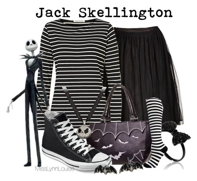 """""""Jack Skellington"""" by misslynnlouise ❤ liked on Polyvore featuring City Chic, Betty Barclay, Converse, Disney and Alchemy England"""