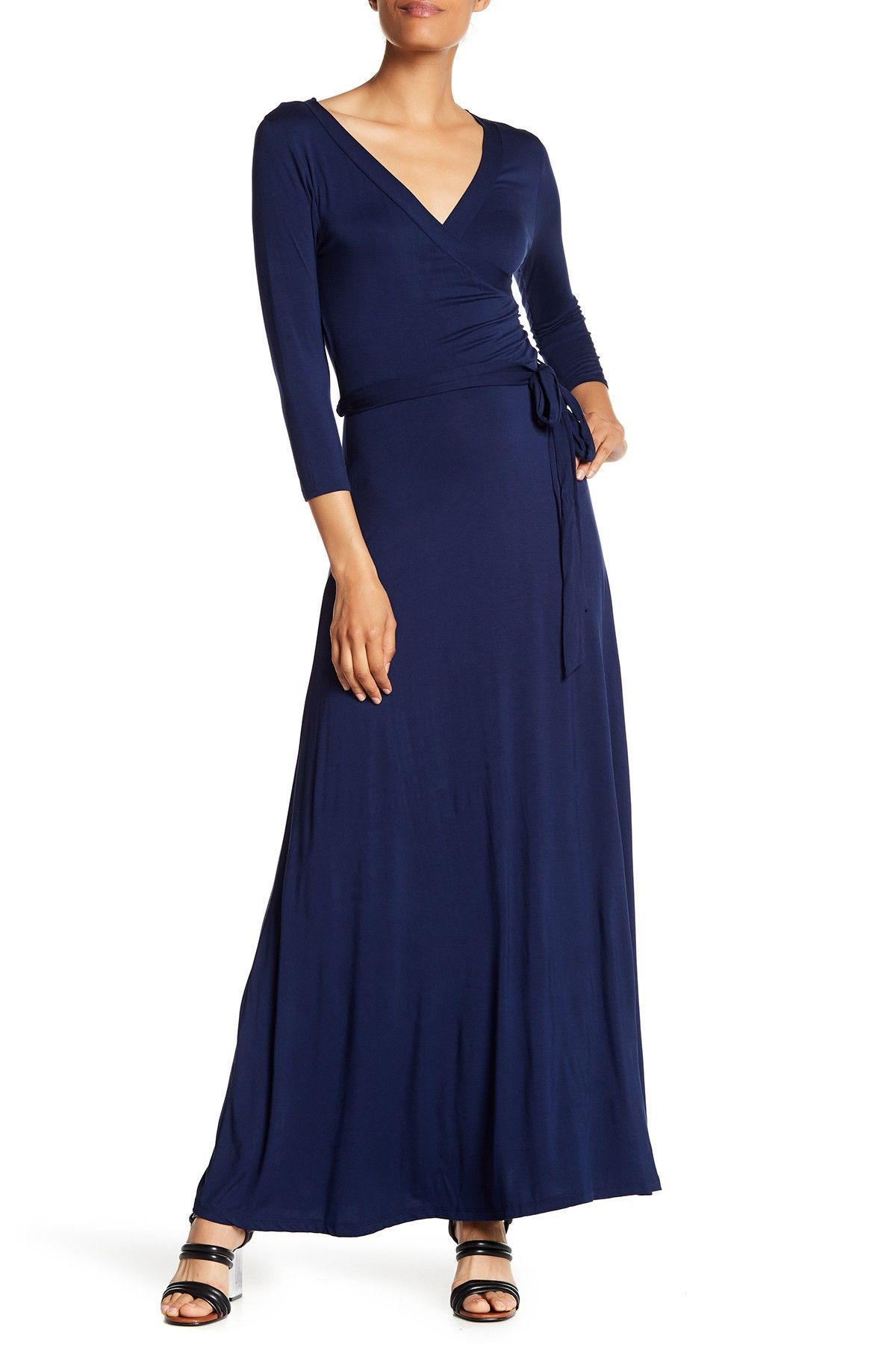 West Kei Solid Woven 3 4 Length Sleeve Dress Hautelook Dresses Nordstrom Dresses Navy Blue Maxi Dress [ 1800 x 1200 Pixel ]