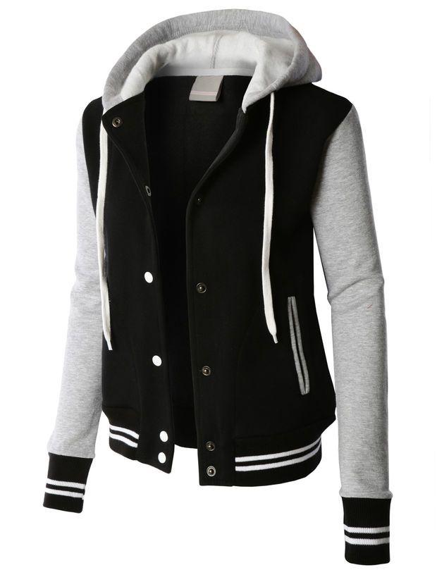 LE3NO PREMIUM Womens Contrast Sleeve Fleece Varsity Baseball Hoodie Jacket 765c501bb31