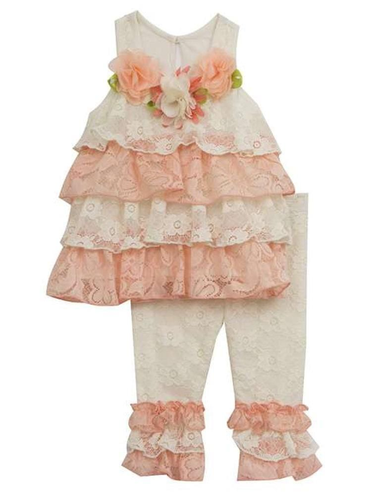 248e4e5da68 Rare Editions Girls Lace Ruffle Top Flowers and Leggings Set Peach Ivory