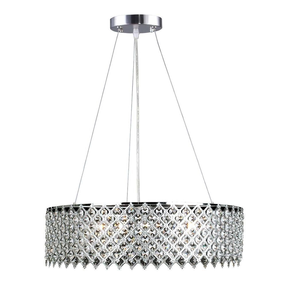 Decor Living 3 Light Crystal And Chrome Chandelier 104327 15 The Home Depot Chrome Chandeliers Polished Nickel Pendant Chandelier Decor