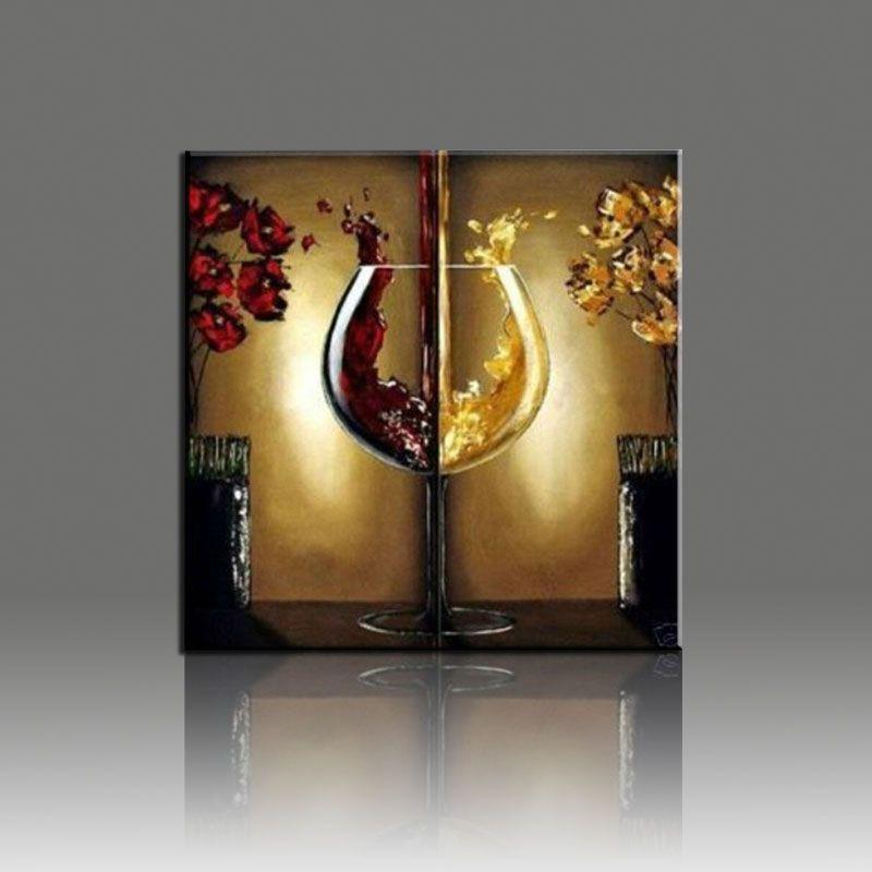 Frameless Canvas Painting Wine Glass Flower Landscape Canvas 2 Pcs Wall Art  Decoration Pieces