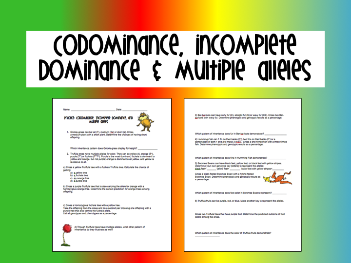codominance vs incomplete dominance – Incomplete Dominance and Codominance Worksheet