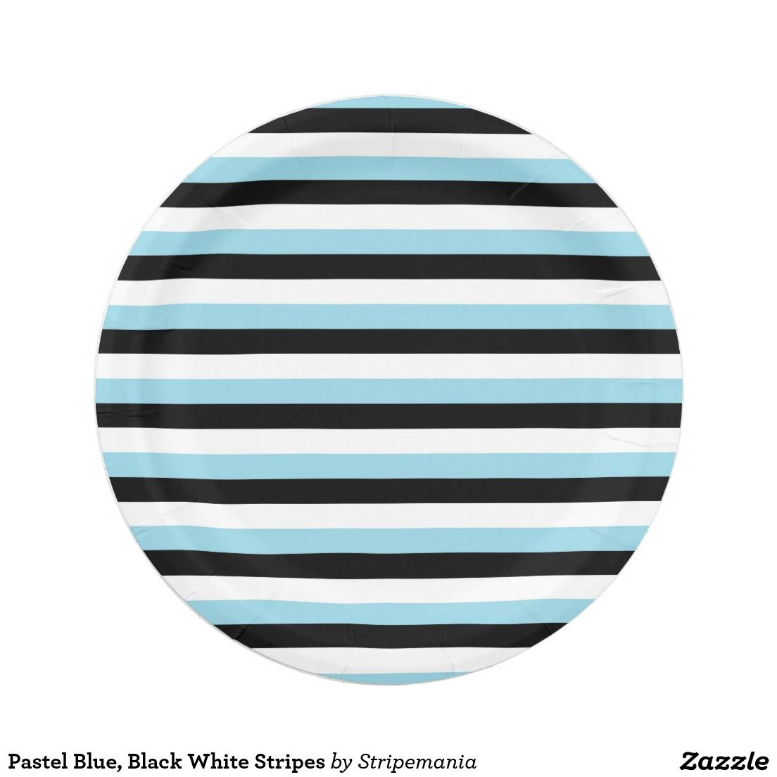 Pastel Blue Black White Stripes Paper Plate  sc 1 st  Pinterest & Pastel Blue Black White Stripes Paper Plate | Zazzle products ...