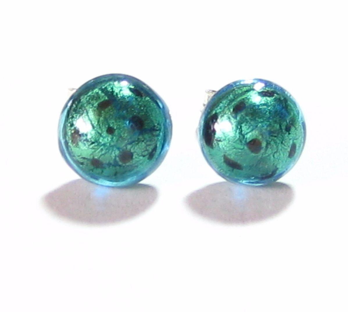 Murano Glass Leopard Aqua Green Button Sterling silver Earrings, Studs
