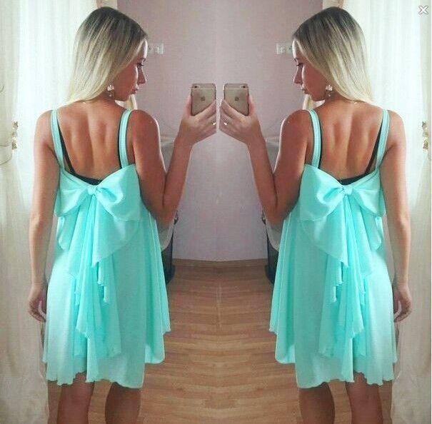 61426e3da439f2 Spaghetti Strap Chiffon Sleeveless Loose Butterfly Bow Short Dress ...