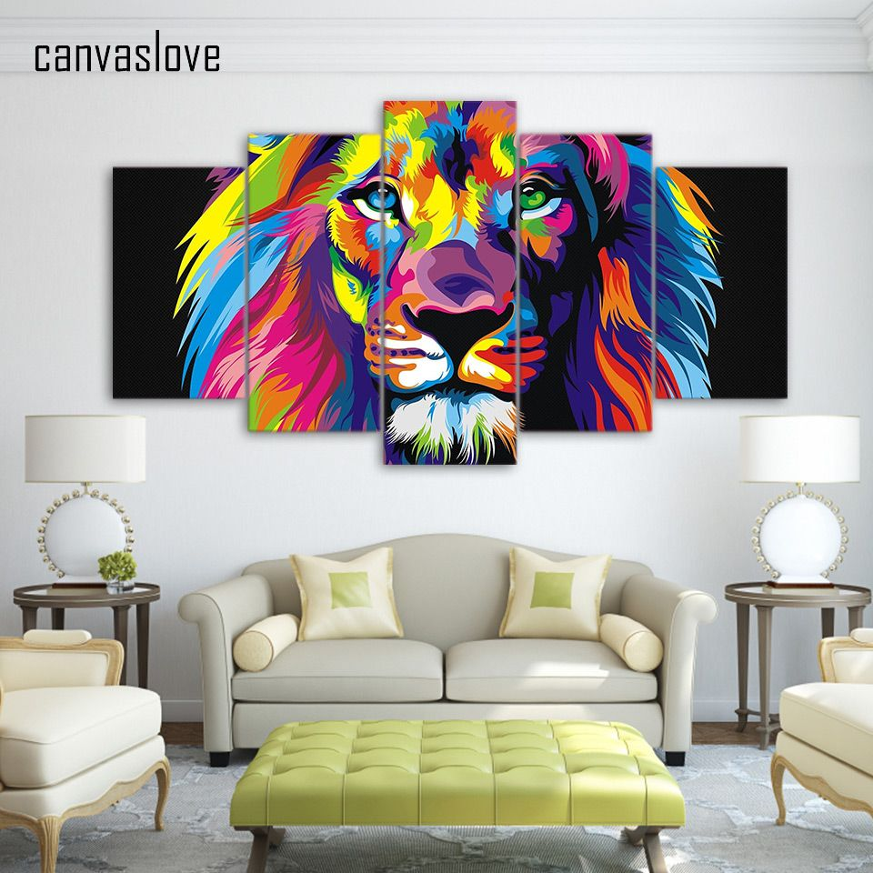 Promo 5 Pieces Canvas Paintings Printed Abstract Colorful Lion Amusing Living Room Paintings 2018