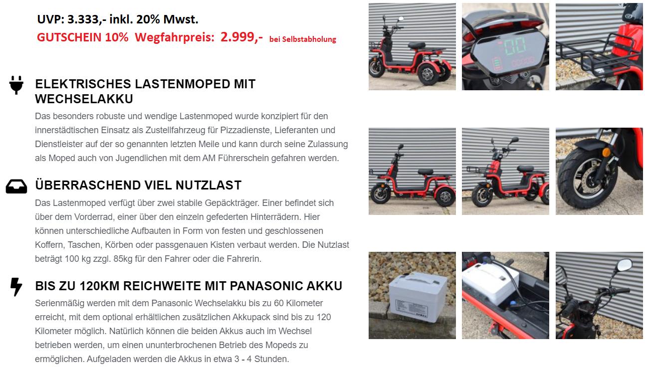 45 Km H E Trike Express 2x 800 Watt Elektro Moped E Roller Mit Strassenzulassung L1e 45 Km H Sunra Elektroscootershop At Moped Dreirad Elektrofahrzeug