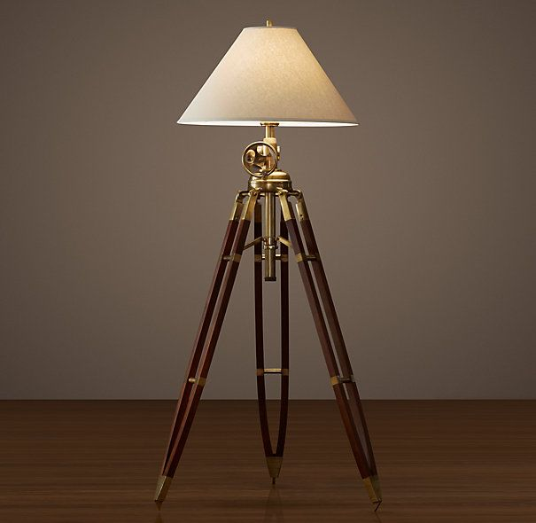 Royal Marine Tripod Floor Lamp Antique Brass And Brown Item