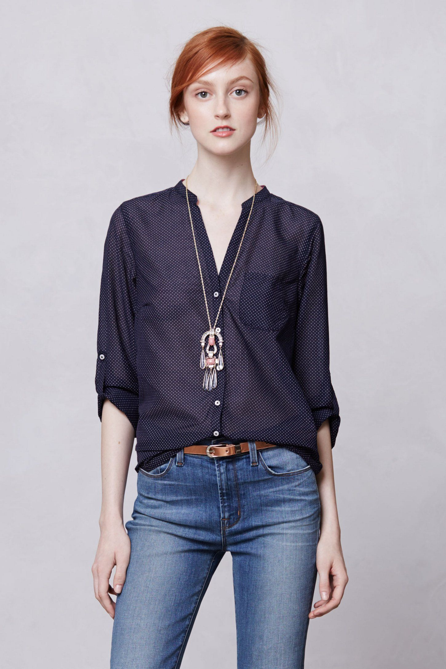 Indigo-Ruled Buttondown - Anthropologie | Stitch Fit Inspirations ...