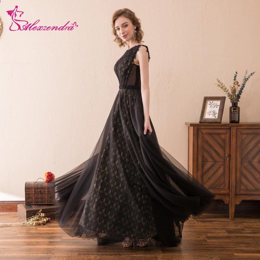 0d153d751eae Alexzendra Stock Dress Tulle Black En Line Long Prom Kjoler Nye Formelle  Aften Kjoler Party Kjoler