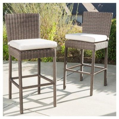 Barcelona Set Of 2 Wicker Counter Height Dining Chairs With Sunbrella Cushions Mixed Brown