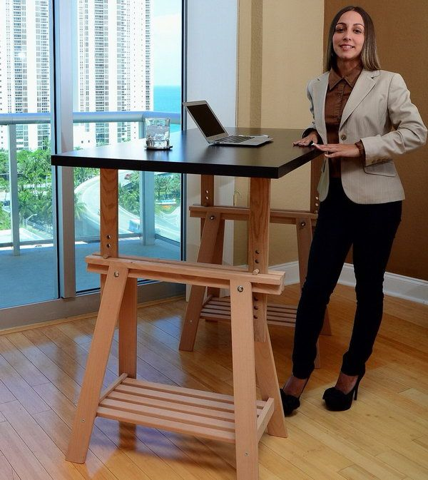 Hack An Ikea Trestle Into An Adjustable Standing Desk You Can Adjust This Desk To Your Height It Also Looks N Desk Hacks Ikea Standing Desk Diy Standing Desk