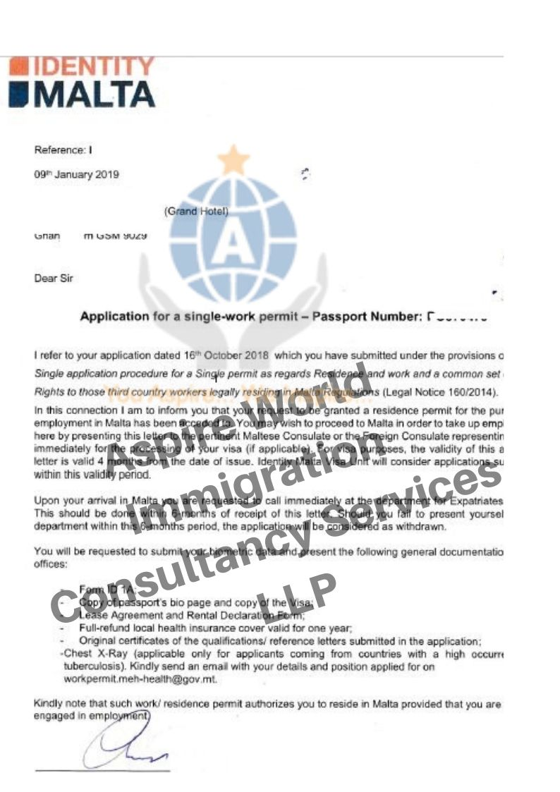 Congratulations To Our Client Who Got Work Permit Approval Letter