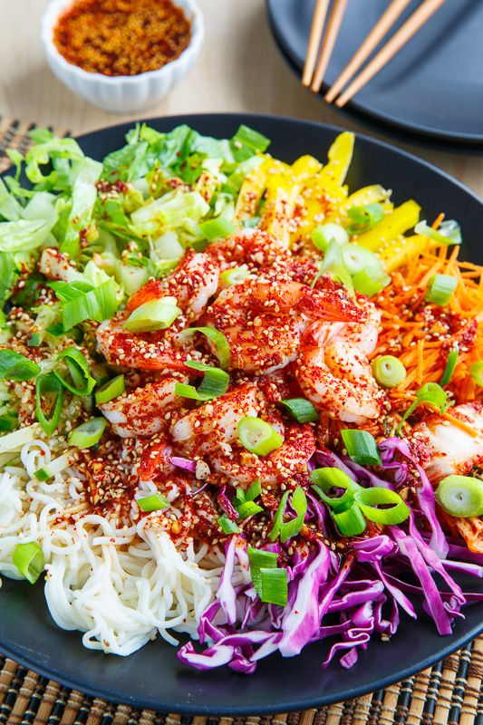 Korean Style Cold Tofu Shirataki Noodle Salad With Shrimp