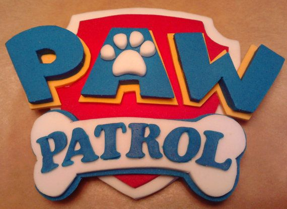 Personalizzata PAW PATROL Blue Badge glassa in pasta di zucchero cake topper Commestibile Compleanno