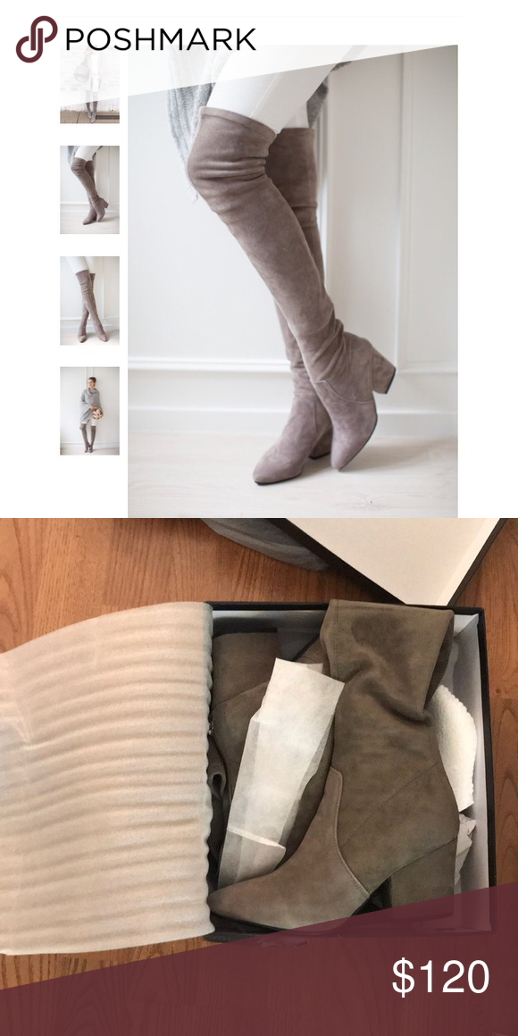 00d3ce8d41c Carina taupe over the knee suede leather boots Goodnight macaroon- carina  Taupe over the knee suede leather boots. Size 37 (6 or a small 6.5)  goodnight ...