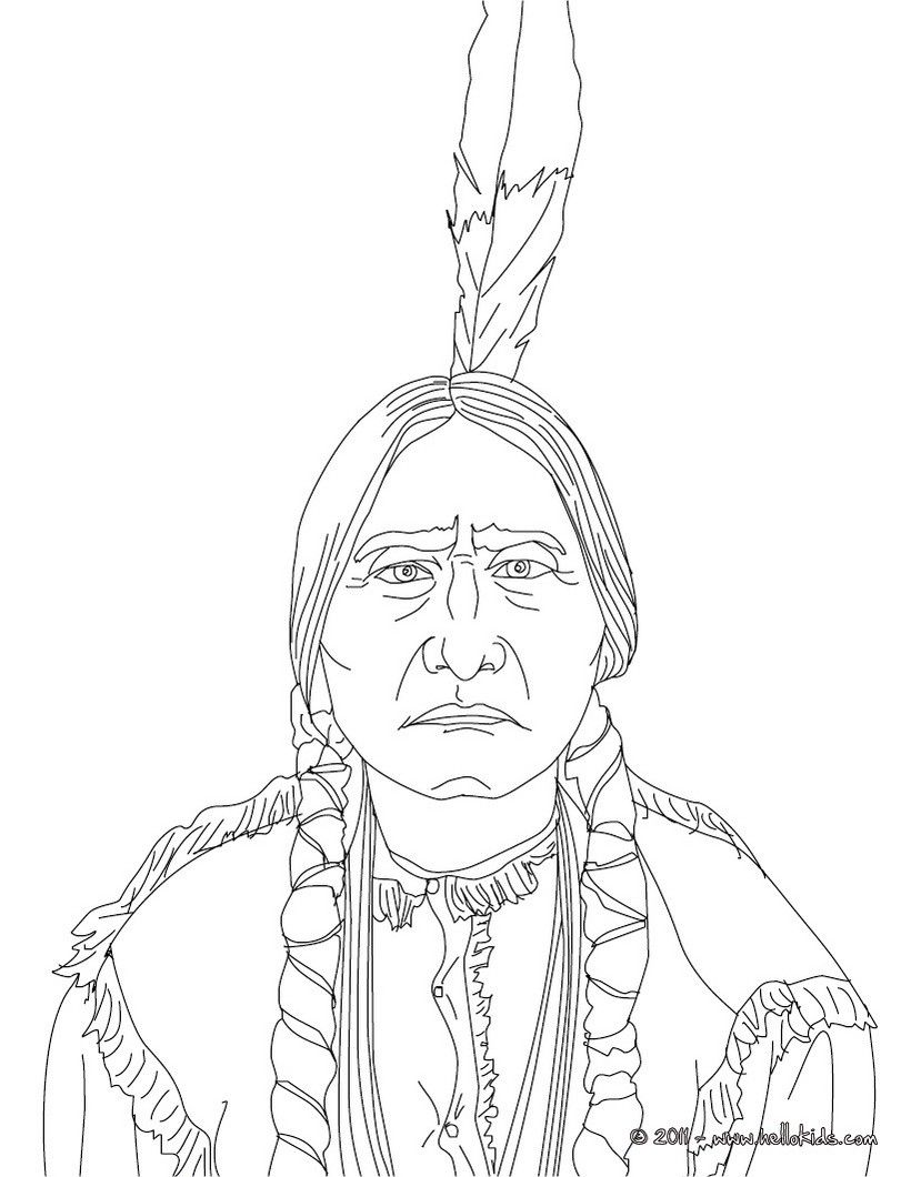 Sitting Bull Coloring Page History Coloring Sheets