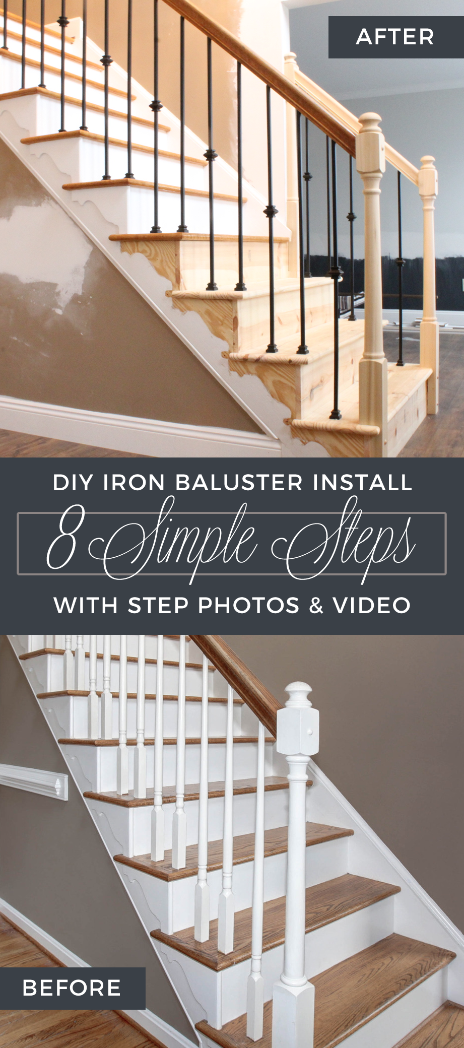 Diy Wrought Iron Baluster Stair Spindle Install With Step Photos   Installing Wrought Iron Railings On Stairs   Railing Kits   Concrete Steps   Iron Balusters   Outdoor Stair   Stair Spindles