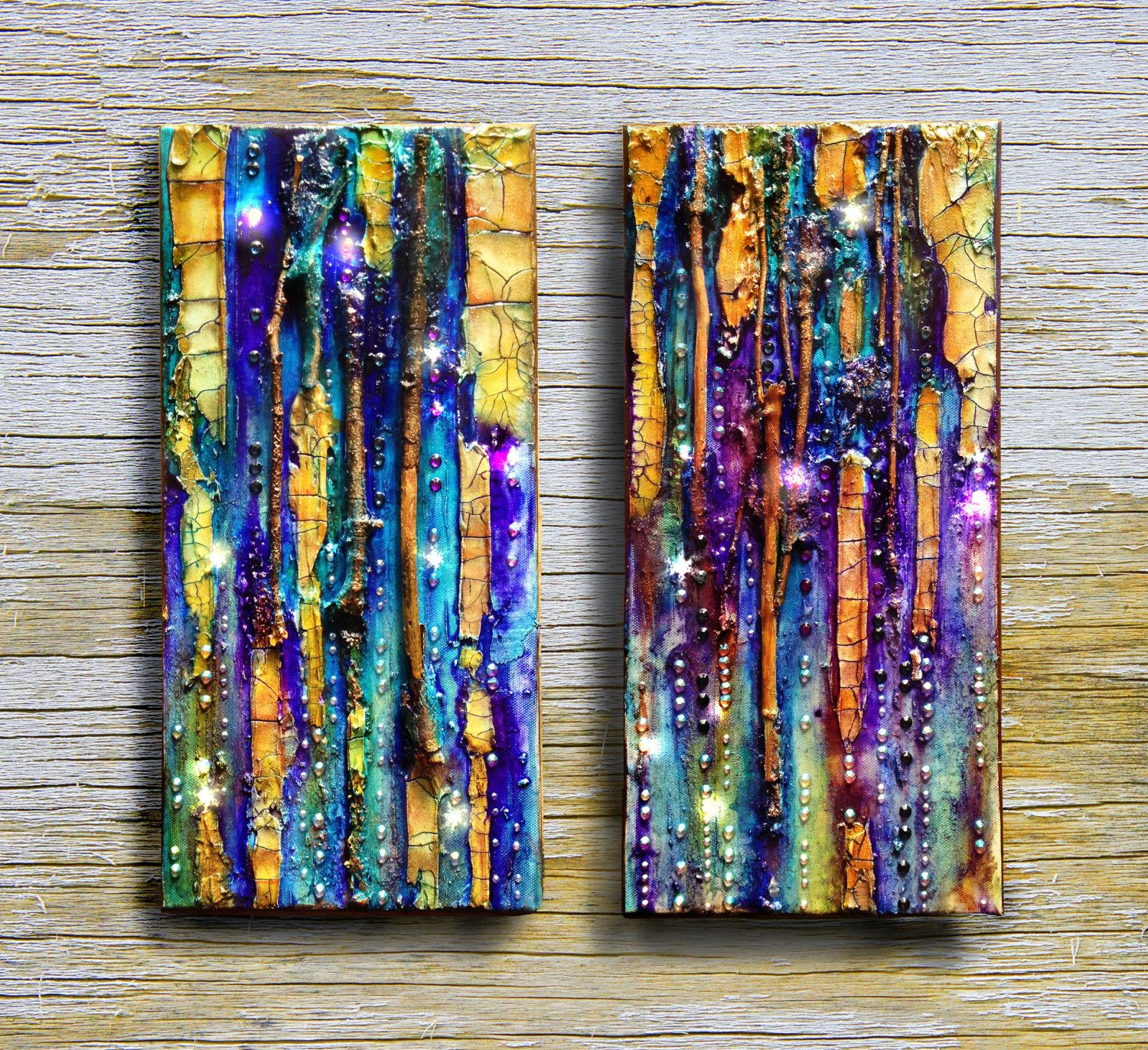 Abstract Canvas, Original Mixed Media Painting Diptych Octopus Garden, Glass,